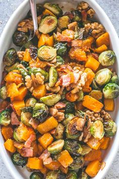 Easy Maple Glazed Roasted Butternut Squash with Brussels Sprouts