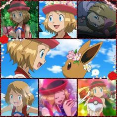 Serena and her newly caught Eevee ^_^ I give good credit to whoever made this