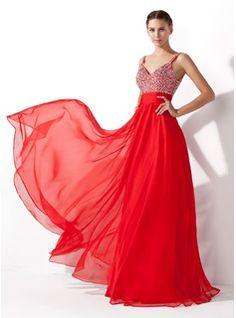 Vestidos princesa/ Formato A Decote V Chá comprimento De chiffon Vestido de baile com Pregueado Perolização Lantejoulas