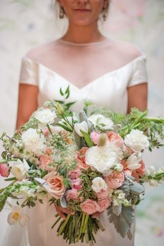 gorgeous large pink peach and white bouquet
