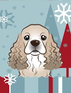 Winter Holiday Cocker Spaniel Flag Canvas House Size BB1712CHF
