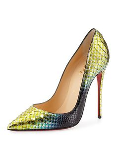 Christian Louboutin 'So Kate' Python Mermaid Red Sole Pump, Mimosa $1,495 Fall 2014 #CL #Louboutins #Shoes