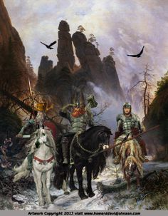 The All-father,Thor,& Loki are shown here on horseback in the snowy mountains of Jotunheimr, one of the nine worlds of Nordic cosmology on an expedition to Utgard, hunting for their mortal enemies, the Giants.
