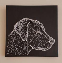 , Handmade Dog string art x , String Wall Art, Nail String Art, String Crafts, Diy Wall Art, String Art Tutorials, Dog Artwork, Creation Deco, Thread Art, Pin Art