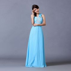 Discount China china wholesale Womens Chic One Shoulder Cross Elegant Embroidery Slim Empire Long Evening Party Dress [31605] - US$54.49