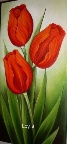Tutorial La Dalia in Decorative Painting- Dahlia en pintura deorativa Tulip Painting, Fabric Painting, Image Painting, Painting Flowers, Simple Acrylic Paintings, Acrylic Art, Acrylic Flowers, Flower Wallpaper, Flower Art