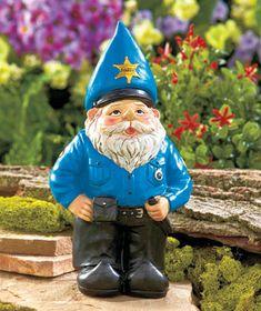 Novelty Gnome Garden Statue Yard Art Sheriff Policeman Cop Gift NEW