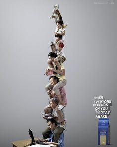 """Diamond Coffee: Office Worker  """"When everyone depends on you to stay awake.""""  Advertising Agency: Leo Burnett, Hong Kong"""
