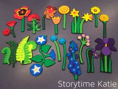 Flannel Friday: Flower Finger Puppets & Planting a Rainbow | storytime katie