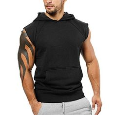 Buy Men's Bodybuilding Sleveless Hoodies Gym Workout Hooded Tank Tops - Black - and Find More Men's Sports Sweatshirts & Hoodies enjoy up to off. Sports Sweatshirts, Hooded Sweatshirts, Concept Clothing, Body Building Men, Sleeveless Hoodie, Black Tank Tops, White Tank, Casual Sweaters, Sport T Shirt
