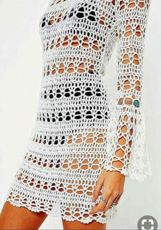 How to Crochet a Little Black Crochet Dress White Flare Sleeve Backless Knitted Crochet Dress. Order today & shop it like it's hot at Missguided. Crochet Skirt Pattern, Crochet Skirts, Crochet Clothes, Crochet Patterns, Tunic Pattern, Beau Crochet, Mode Crochet, Filet Crochet, Crochet Beach Dress