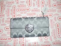Coach Grey Silver Envelope Wallet New F46765 Shp ,Photons,& ALL FEES Included