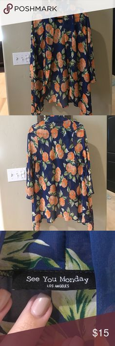 Great condition floral kimono Light weight floral kimono. Great condition. Sleeves are 3/4 length. One size See You Monday Tops