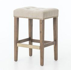 Keep it simple, keep it comfortable. Distressed and whitewashed legs are topped with a sandy colored, cotton canvas seating. The Sean stool is accented by a brass kick plate and nail head trim. Counter Stool: x x Bar Stool: x x Country Furniture, Bar Furniture, Furniture For You, Dining Room Furniture, Room Chairs, Dining Chairs, Office Furniture, Furniture Dolly, Bag Chairs