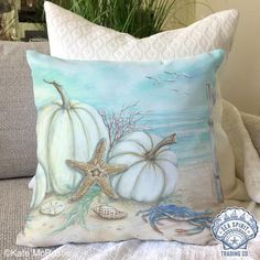 Fall at the beach Coastal pumpkin and starfish harvest pillow decor Coastal Fall, Coastal Colors, Coastal Decor, Coastal Christmas, Coastal Cottage, Coastal Living, Christmas Decor, Thanksgiving Decorations, Fall Decorations
