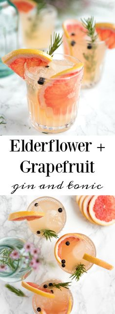 Elderflower Grapefruit Gin and Tonic. Sweet pink grapefruit, fragrant rosemary, and Elderflower Liqueur are added to this classicly easy and always refreshing, Gin and Tonic. #cocktail #drinks #alcohol #gin #grapefruit #cocktails #easyrecipe