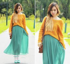 mustard and teal!