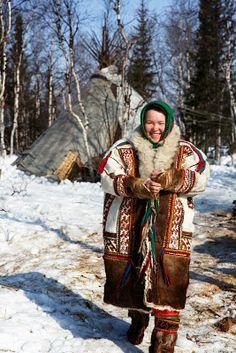 Khanty woman in traditional dress. Wycliffe.