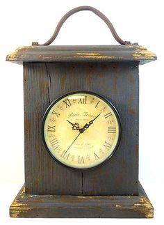 French Country Farmhouse Antique Wooden Paris Flea Mantle Clock Rustic Vintage | eBay