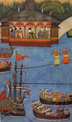 Osmanlı döneminde ip cambazı minyatürü. By Nakkaş Osman, Surname-i Humayun (tightrope walkers)
