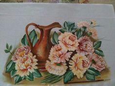 Pintura em tecido jarro e crisantemos