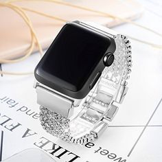 Premium Stainless Steel Adapter Locks Your Iwatch Interface Precisely and Securely. Crystal Stones Chain Designed for Apple Watch, Single Sparkle Strass Jointed Ensures Great Ventilasion and Light Weight (iWatch Not Included). Apple Watch 42mm, Apple Watch 38, Apple Watch Iphone, Apple Watch Series 2, Apple Watch Bands, Apple Watch Fashion, Iphone Accessories, Watch Accessories, Jewelry Accessories