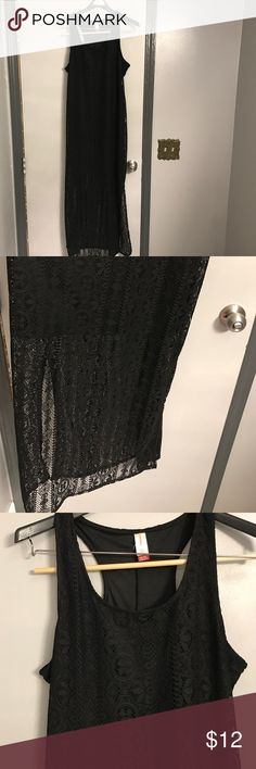 Black croshet dress Long black crochet dress with a lining that stops at the knee and the rest of it from knee down is crochet material size XL 15/17 No Boundaries Dresses Maxi