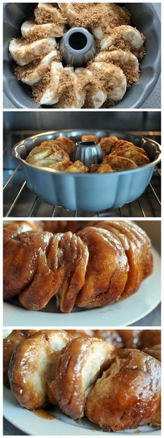 sticky bun breakfast ring using buttermilk biscuits. - great for brunch. Im going to cut biscuits in half and add cinnamon to sugar mixture Yummy Treats, Delicious Desserts, Yummy Food, Think Food, I Love Food, Kolaci I Torte, Sticky Buns, Sticky Rolls, Breakfast Recipes
