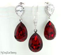 Red Earrings Swarovski Crystal Siam Bridal by MyTinyStarShining