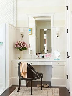 Vanity idea with a bigger wider mirror and prettier stool. Love the natural light