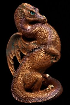 Emperor Dragon - Copper Patina - teal eyes. Airbrushed and Handpainted Fantasy Figurine, Statue. $344.00 #dragon #fantasyart #figurine