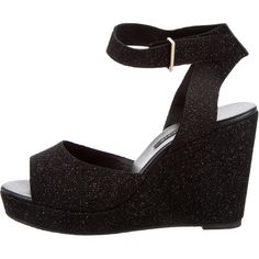 Pre-owned NewbarK Maggie Wedge Sandals found on Polyvore featuring polyvore, women's fashion, shoes, sandals, black, black wedge heel sandals, black suede sandals, black ankle strap sandals, suede wedge sandals and black sandals