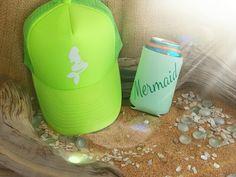 Neon green Mermaid truckers with Mermaid koozie