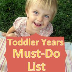 The Toddler Years Must Do List