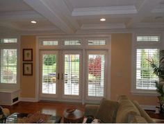 Great example of shutters on transoms and french doors. Budget Blinds of Susquehanna Valley, PA.