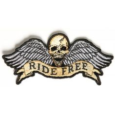066b61018393b Ride Free Winged Skull Patch Small