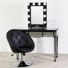 Mirrored Vanity Table with Black Frame and 3 Drawers