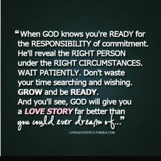 God's timing is perfect.