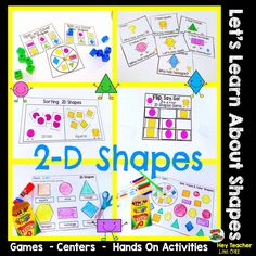 2-D Shapes Math Games, printable worksheets and centers and hands on Activities are perfect for Pre-k and kindergarten kids.