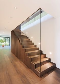 Modern Staircase Design Ideas - Modern stairs are available in numerous styles and designs that can be genuine eye-catcher in the different area. We've compiled ideal 10 modern models of stairs that can give. Glass Handrail, Glass Stairs, Wood Stairs, House Stairs, Basement Stairs, Glass Stair Railing, Open Basement, Basement Ideas, Basement Remodeling