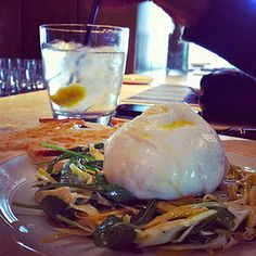 Buratta over a tangy artichoke salad at Fiola in Washington, DC