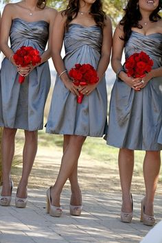 Grey #Bridesmaids #Dresses  ♥ How to organise your entire wedding easily ... https://itunes.apple.com/us/app/the-gold-wedding-planner/id498112599?ls=1=8 ♥ For more wedding inspiration ... http://pinterest.com/groomsandbrides/boards/ & magical wedding ideas.