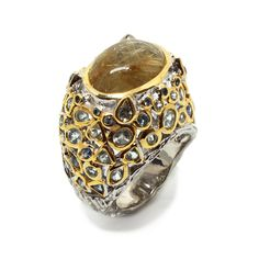 Ring mit Rutilquartz, Topaz und Saphir Himmelblau, Class Ring, Topaz, Jewellery, Gold Paint, Beads, Silver, Ring, Jewels