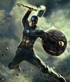 Captain America with Mjolnir (Thor's Hammer) - Avengers: Endgame - Marvel Dc Comics, Marvel Avengers, Captain Marvel, Captain America Civil, Marvel Films, Marvel Memes, Marvel Characters, Chris Evans, Captain America Wallpaper