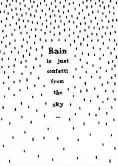 Rain is just confetti from the sky! By Miinti Poster - Rain zwart / wit | www.stylingandco.com