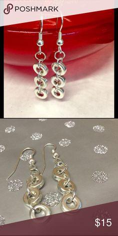 ♦️triple circle drop silver earrings Silver circle drop earrings Zara Jewelry Earrings