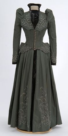 1891 Walking Suit. Note top of sleeve puffs higher than shoulder, fitted bodice, plainer skirt than in previous decades. Clothing, Shoes & Jewelry - Women - Fitness Women's Clothes - http://amzn.to/2jVsXvf