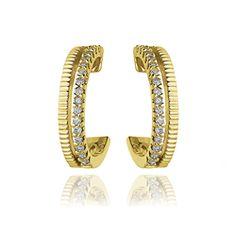 Brinco Ouro Amarelo e Diamante Branco Simetria Menor
