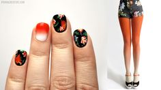 NAIL DID : Floral + Gradient Manicure  Inspired by : BZR Ombre Tights in Sunset