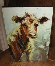 BiG Canvas COW Wall PICTURE Print*Primitive/French Country/Farmhouse Barn  Decor